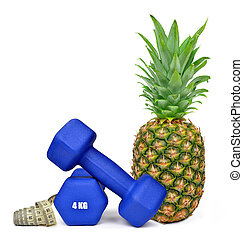 fitness dumbbells with pineapple - Blue fitness dumbbells...