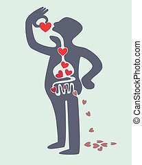 Love digestion - Digestion diagram of man eating love red...