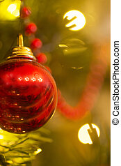 Artificial Christmas tree decorations baubles color photo.