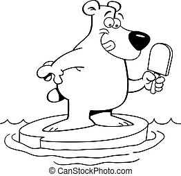 Cartoon illustration of a polar bea - Black and white...