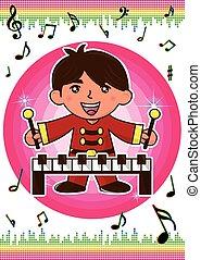 a boy playing piano
