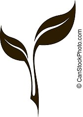 Vector black stylized tea leaf silhouette isolated on white