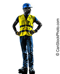 construction worker looking away silhouette - one...