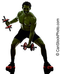 trening, podobny,  Hulk, ciężary, wykonuje, silny, Człowiek