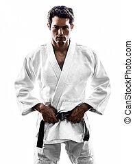judoka, luchador, hombre, silueta,