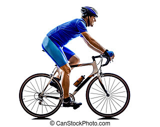 cyclist cycling road bicycle silhouette - one cyclist road...
