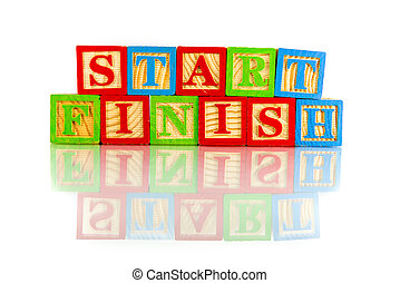 start finish words reflection on white background