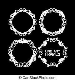 vector set of floral monogram frames. line art elements for design