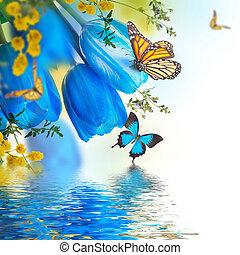 blu, Tulips, con, mimosa, e, farfalla, primavera, fondo,