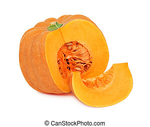 Half of ripe pumpkin and one slice (isolated) - Half of ripe...