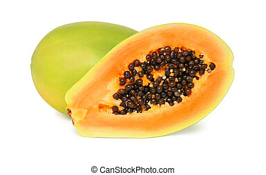 One whole and a half ripe papaya (isolated) - One whole and...