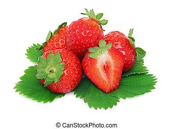 成熟, 離開, 綠色, 草莓, 堆,  (isolated)