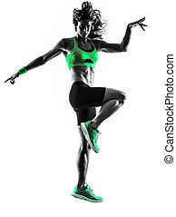 woman fitness jumping exercises silhouette - one caucasian...