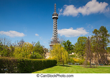 Famous lookout tower on the Petrin Hill in Prague - Lookout...