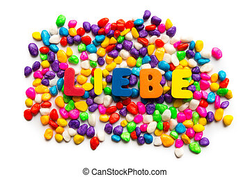 liebe german word in colorful stones