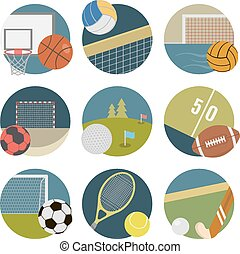Sport icons. Vector set. Football, basketball, handball,...
