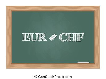 Euro franc currency exchange text drawn on chalkboard
