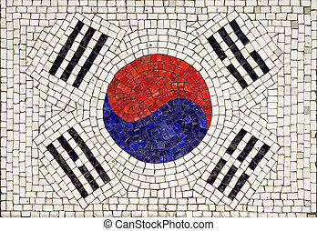 Flag of South Korea made from small tiles