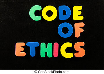 code of ethics words in black background