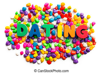 dating word on colorful stone