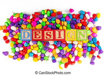 design word in colorful stone