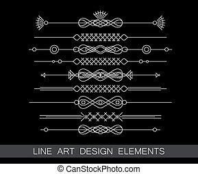 vector set of line art border elements for design