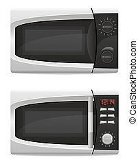 microwave oven with mechanical and electronically controlled...