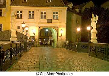Michaels gate - night photo of Bratislava famous historic...