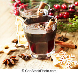 Mulled Wine Glasses with Spices and Gingerbread, Winter...