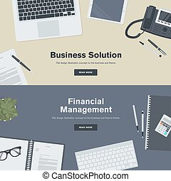 Flat design concept for business - Set of flat design...