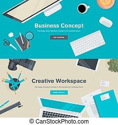 Flat design concept for business - Set of flat design...