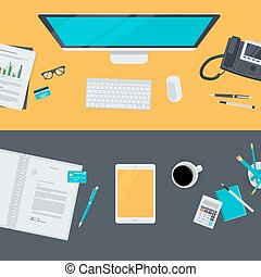 Flat design concepts for workspace - Set of flat design...