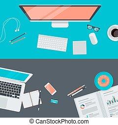 Flat design concepts for workspace - Set of flat design...
