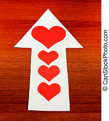 Heart Shape on the Arrow - Red Heart Shapes on the Arrow and...