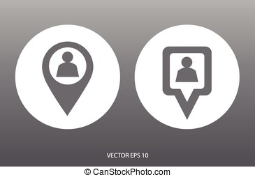 Location icon. Round and square pin pointer. Location marker...