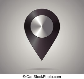 Shiny metal location icon. Map Pointer, black. Vector...