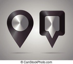 Shiny metal location icons. Map Pointers. Round and square...