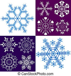 Collection dark blue and white snowflakes (vector)