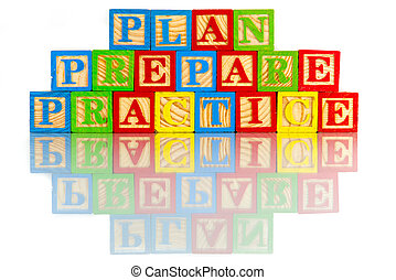 plan prepare practice words reflection in white background
