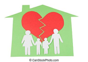 conceito, crianças, família, pessoas, Divórcio, efeito, corte, papel, mãos