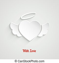 Valentines Day Paper Heart with angel wings and halo. Vector...