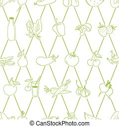 Vector set of different hand drawn food Vector - Seamless...