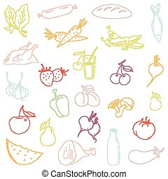 Seamless pattern-hand drawn food. Vector - Seamless...