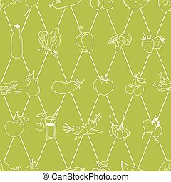 Hand drawn food pattern Vector - Seamless green food pattern...