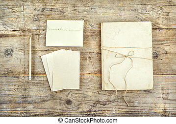 Stationery set on a wooden floor - Stationery set on a...