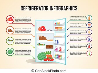 Refrigerator With Food Icons Infographic Elements