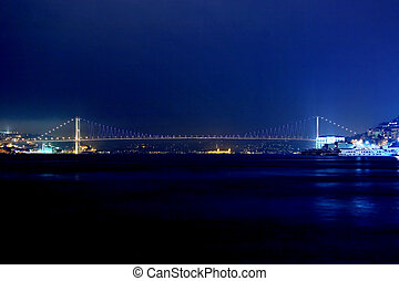 Bosporus Bridge - Bosporus Bridge by night. Istanbul -...