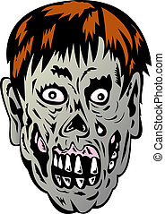 Zombie with rotting face - illustration of a Zombie with...