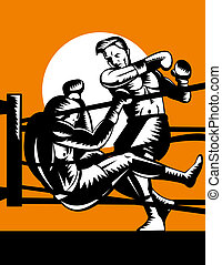 Boxer knocking opponet out of ring - illustration of a Boxer...