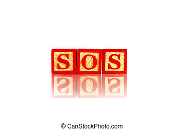 sos word reflection on white background